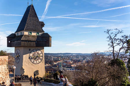 the clock tower is the landmark of the city of graz. capital of styria in austria