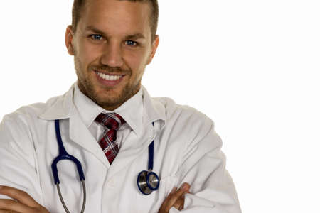 medical bill: a young doctor with stethoscope