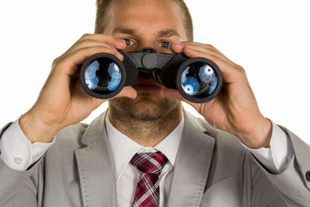 investigated: a manager young entrepreneurs with binoculars looking for jobs or jobs