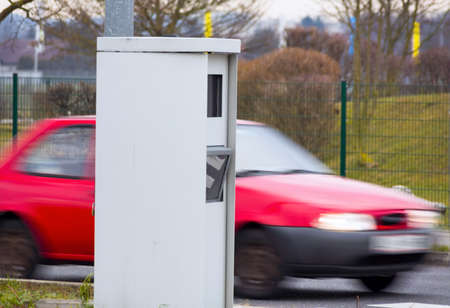 transgression: a box on a road with a radar device to control the speed.