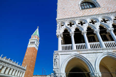 st  mark's square: the campanile at st. marks square in venice, italy.