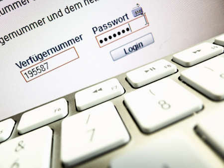 remittances: on a computer screen, the password is when logging in online banking queried .. Stock Photo