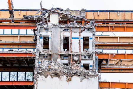 condemned: one older office buildings will be demolished. abort instead renovation Stock Photo