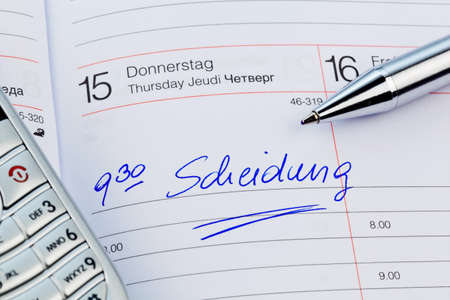 voltages: an appointment is entered on a calendar divorce Stock Photo