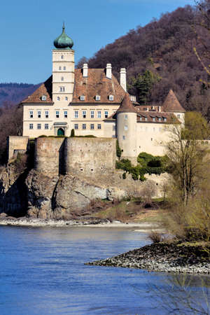 right bank: austria, lower austria, wachau, castle schoenbuehel on the right bank of the danube
