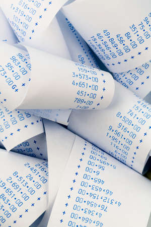 liquidity: the stripes of a calculator. symbolic photo for cost planning, costing, profit and revenue Stock Photo