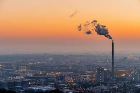 linz: smoking chimneys in the industrial zone in linz, austria, upper austria
