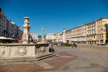 linz: austria, linz, main square, trinity column. and wells