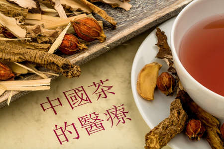 naturopaths: ingredients for a cup of tea in traditional chinese medicine.