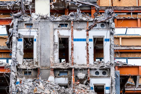 abort: one older office buildings will be demolished. abort instead renovation Stock Photo