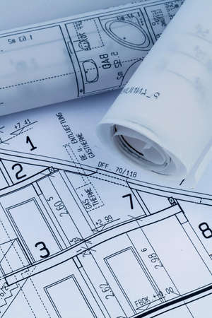 construction draftsman: an architects blueprint for the construction eiones new house. symbolic photo for funding and planning of a new home. Stock Photo