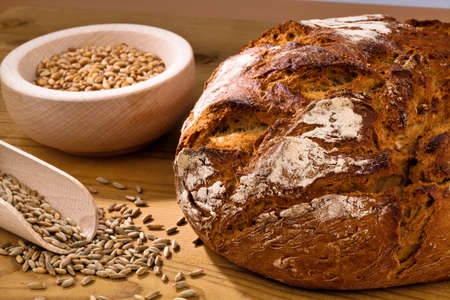 baked goods: a loaf of bread. healthy diet with fresh baked goods.