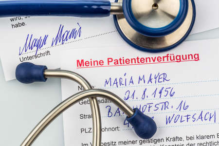 klinik: a living will in german language. instructions for the doctor or hospital in the event of a terminal illness. Stock Photo