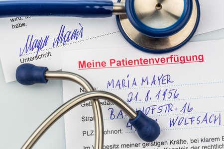 testament schreiben: eine Patientenverf�gung in Deutsch. Anweisungen f�r den Arzt oder ein Krankenhaus im Falle einer unheilbaren Krankheit.