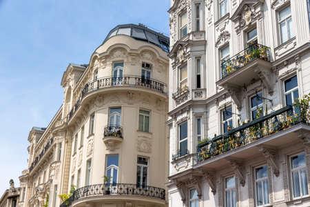 renovate old building facade: austria, vienna. on naschmarktstehen some beautiful art nouveau building. Stock Photo