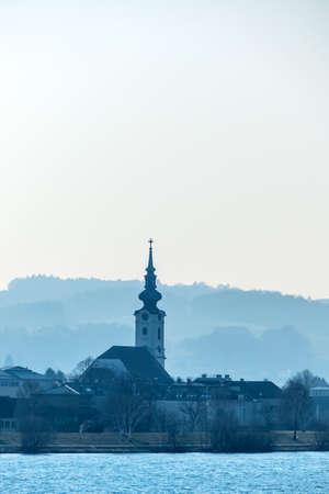 contributions: a small church next to the danube in lower austria, austria