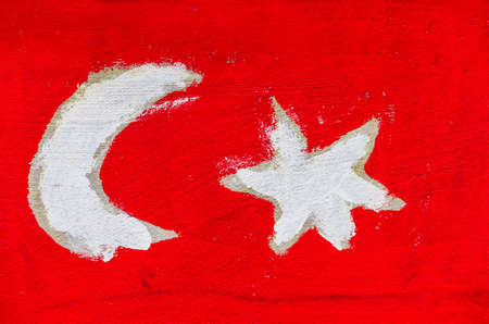 turkish flag: on the wall of a school children have students painted. symbolic photo for coexistence and migration