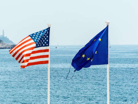 bilateral: flags of the european union and the united states, symbolic photo for partnership, diplomacy, foreign policy Stock Photo