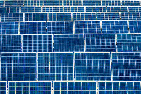 environmentally friendly: panels a solar power plant. solar energy is nachhaltug and environmentally friendly. Stock Photo