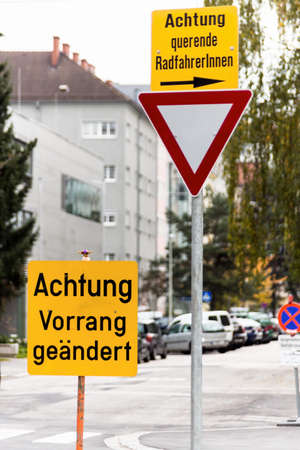 priority: traffic signs, warning, altered priority, priority for cyclists Stock Photo
