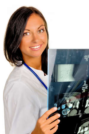 physicans: a female doctor holding x-ray image of a disc infiltration in hand.