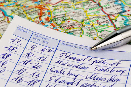 fcc: logbook for one car. for commuter tax and the tax office. Stock Photo