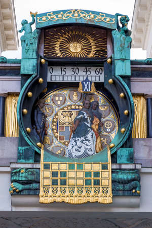 transience: the anchor clock in vienna, austria hoher markt. art nouveau art clock. at 12:00 clock pull over 12 figures in the history of vienna for organ sounds on the dial.