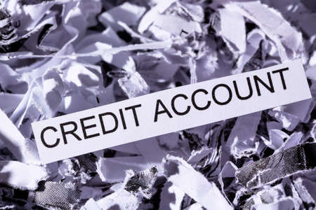 creditworthiness: shredded paper tagged with credit account, symbolic photo for data destruction, financing and credit Stock Photo