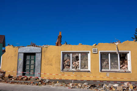 gentrification: a house is demolished. abruchhaus to create new living space. Stock Photo