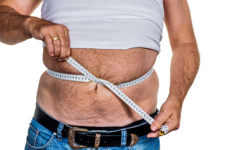lose: man with overweight. symbolic photo for beer belly, unsuccessful diets and poor diet.
