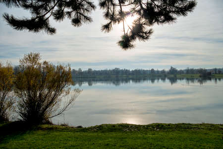 evening sun on the lake, a symbol of peace, meditation, relaxation