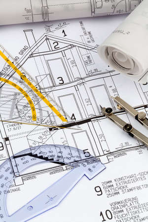 single familiy: an architects blueprint for the construction of a new house. symbolic photo for funding and planning of a new home.