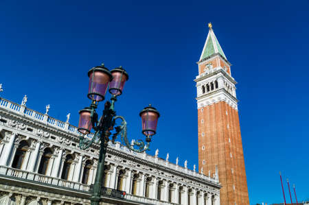st marks square: the campanile at st. marks square in venice, italy. landmark of the city Stock Photo
