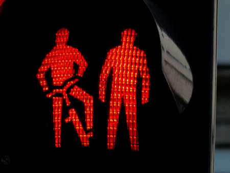 velo: traffic lights for pedestrians and cyclists on a sidewalk or a bike path. red light Stock Photo