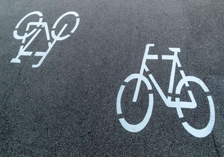 linz: marking a bike trail in linz, austria, safety and traffic control Stock Photo