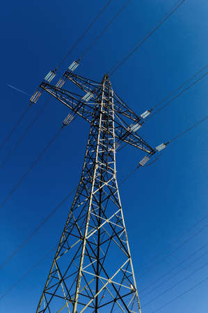 mains: pylon, symbolic photo for energy production, supply and mains Stock Photo
