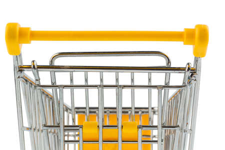 grocers: an empty shopping cart on white background. photo icon for shopping