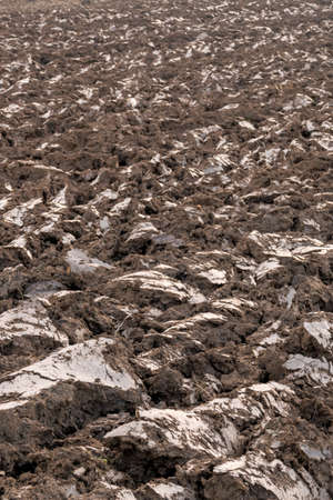 peasantry: a freshly plowed field in winter. break in agriculture