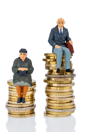 inequality: pensioners and pensioner sitting on money stack symbol photo for retirement and inequality,