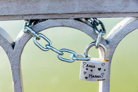door lock love: padlock symbolizing the love, loyalty, partnership, romance Stock Photo