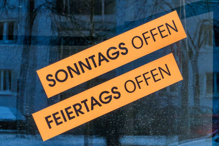arbeitsrecht: signs holiday sundays open, symbol of service, hours of work, overtime, overtime