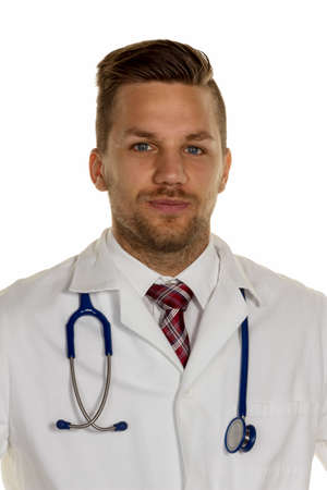 physican: a young doctor with stethoscope