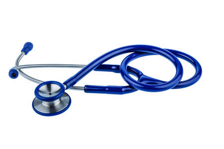 a blue stethoscope lying on a white background. Stock Photo