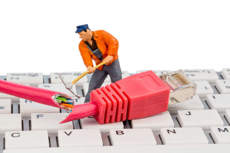 workers, network connectors, keyboard, symbolic photo for internet failure, maintenance, problem solving, Stock Photo