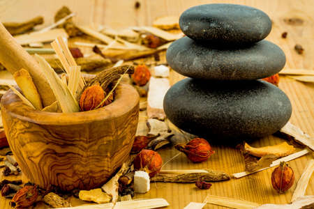 naturopaths: ingredients for a cup of tea in traditional chinese medicine Stock Photo