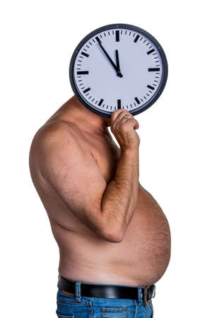 constrict: man with overweight. symbolic photo for beer belly, unsuccessful diets and poor diet