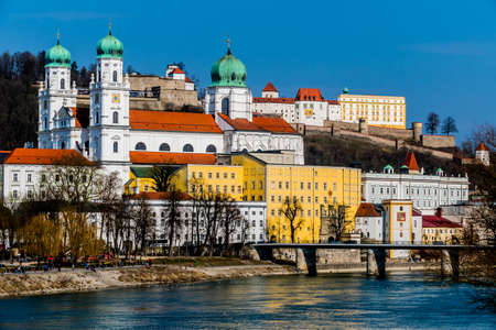 attributed: view of the city of passau in bavaria. here are attributed to the inn, the danube and the ilz together.