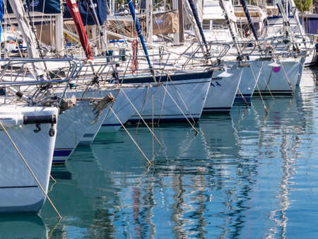 motorboats: yachts in a harbor, symbolic photo for vacation, cruise, luxury Stock Photo