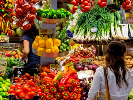 fresh fruits and vegetables at the fruit market. vegetable market with organic foods