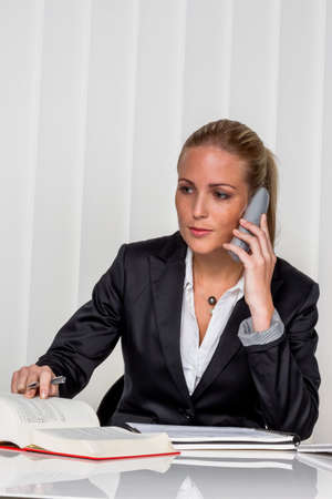 legislator: businesswoman sitting in an office. photo icon for managers, independence or lawyer. Stock Photo